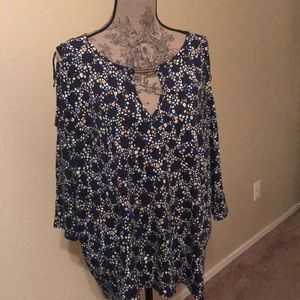 Michael Kors navy floral top